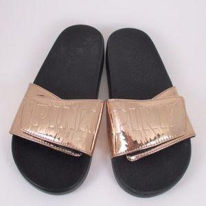 Pink Victoria Secret Rose Gold Slide Sandals 8.5?